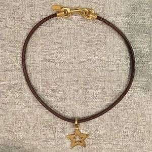 Coach Short Leather Necklace w/Star